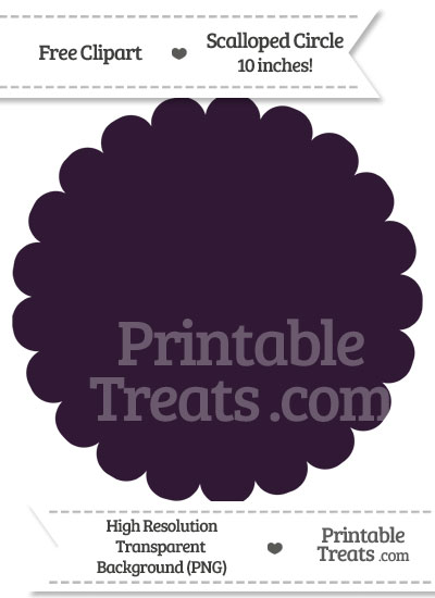 Dark Purple Scalloped Circle Clipart from PrintableTreats.com