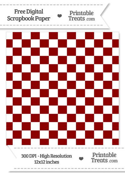 Dark Red Checkered Pattern Digital Paper from PrintableTreats.com