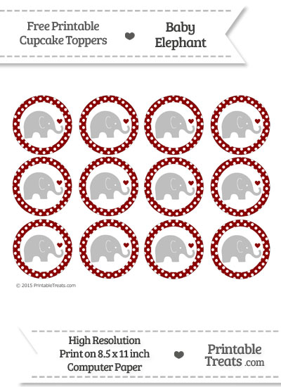 Dark Red Polka Dot Baby Elephant Cupcake Toppers from PrintableTreats.com