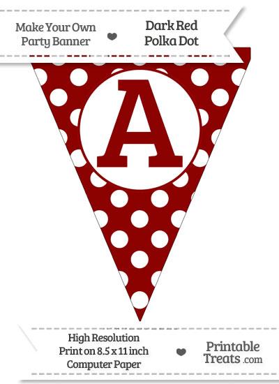 Dark Red Polka Dot Pennant Flag Capital Letter A from PrintableTreats.com