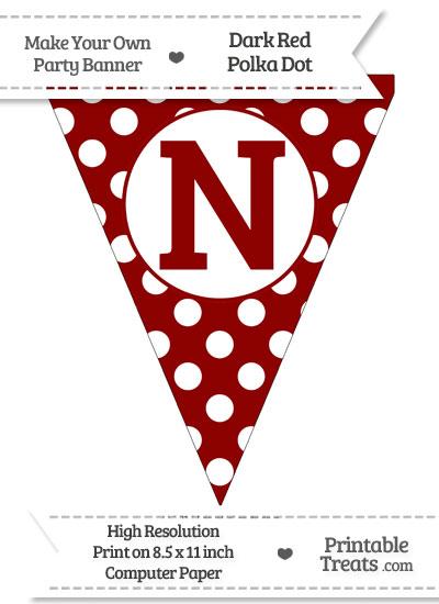Dark Red Polka Dot Pennant Flag Capital Letter N from PrintableTreats.com