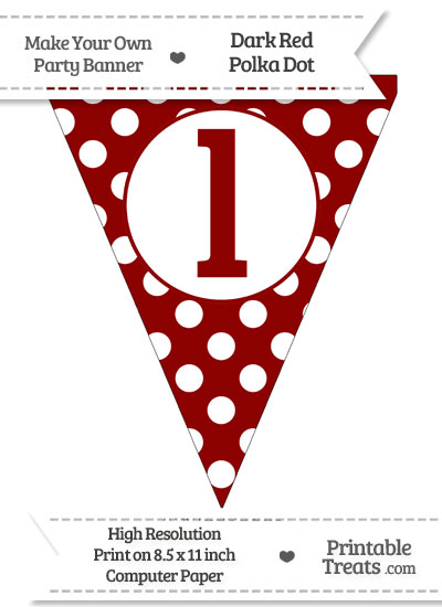 Dark Red Polka Dot Pennant Flag Lowercase Letter L from PrintableTreats.com