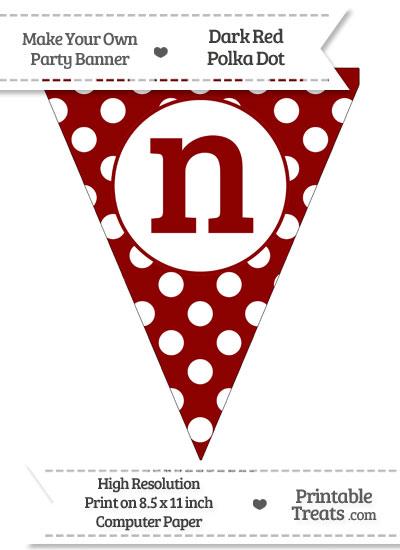 Dark Red Polka Dot Pennant Flag Lowercase Letter N from PrintableTreats.com