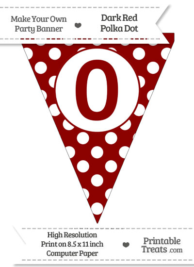 Dark Red Polka Dot Pennant Flag Number 0 from PrintableTreats.com