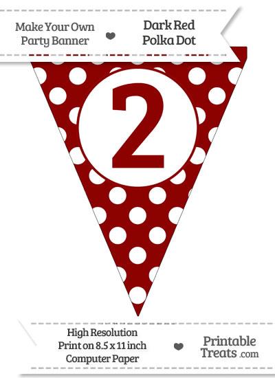 Dark Red Polka Dot Pennant Flag Number 2 from PrintableTreats.com