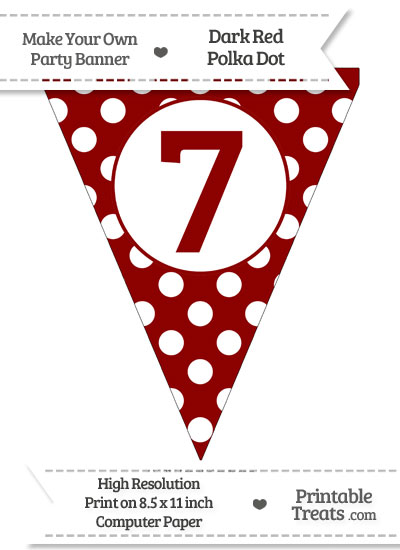 Dark Red Polka Dot Pennant Flag Number 7 from PrintableTreats.com