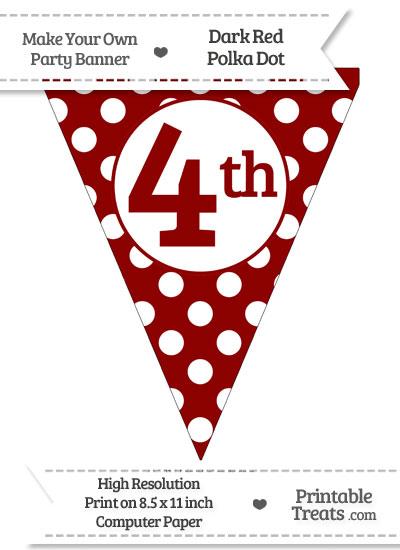 Dark Red Polka Dot Pennant Flag Ordinal Number 4th from PrintableTreats.com