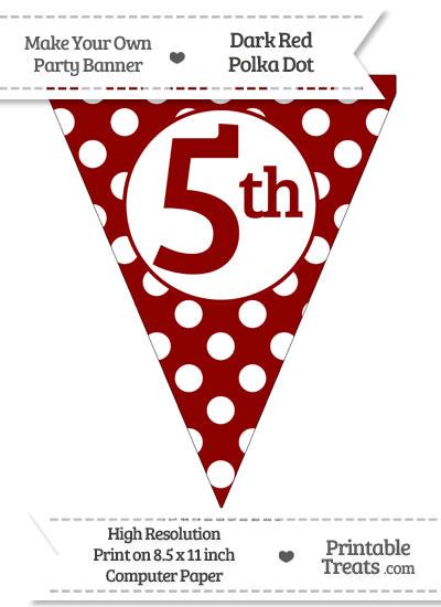 Dark Red Polka Dot Pennant Flag Ordinal Number 5th from PrintableTreats.com