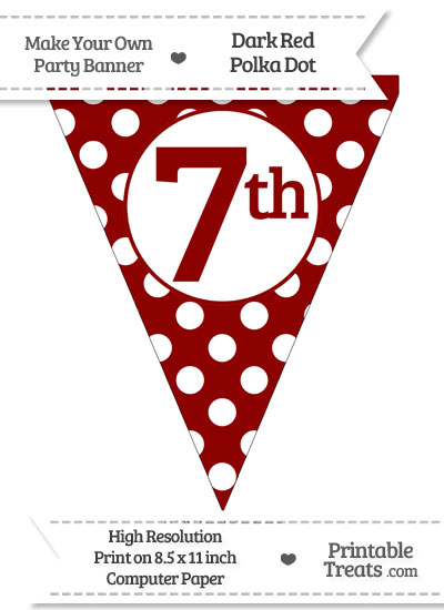 Dark Red Polka Dot Pennant Flag Ordinal Number 7th from PrintableTreats.com