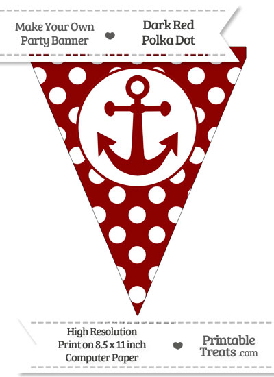 Dark Red Polka Dot Pennant Flag with Anchor from PrintableTreats.com