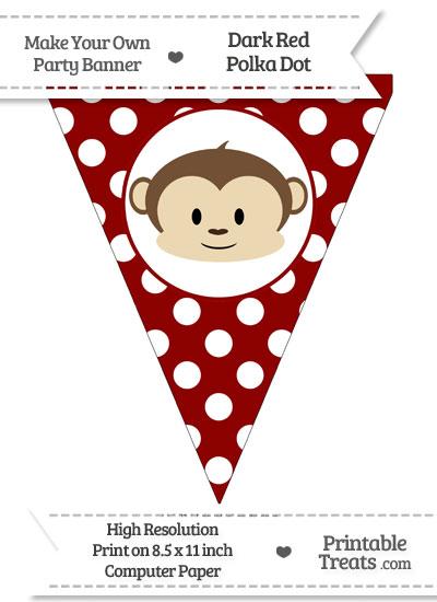 Dark Red Polka Dot Pennant Flag with Boy Monkey from PrintableTreats.com