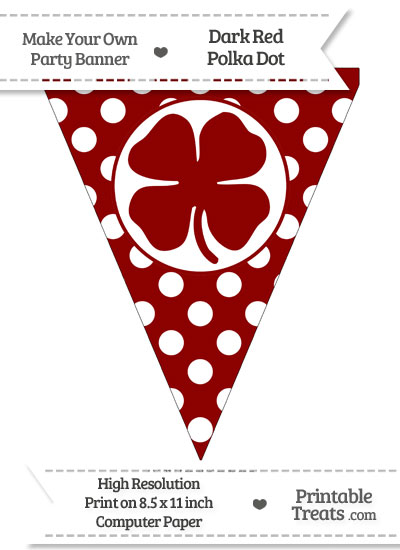 Dark Red Polka Dot Pennant Flag with Four Leaf Clover Facing Left from PrintableTreats.com