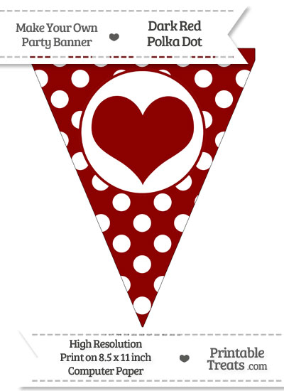 Dark Red Polka Dot Pennant Flag with Heart from PrintableTreats.com
