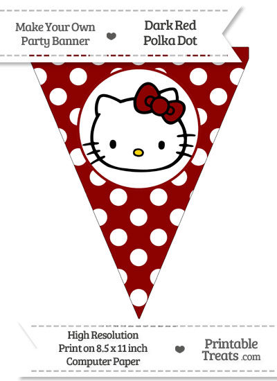 Dark Red Polka Dot Pennant Flag with Hello Kitty from PrintableTreats.com