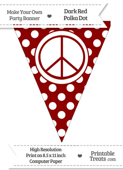 Dark Red Polka Dot Pennant Flag with  Peace Sign from PrintableTreats.com