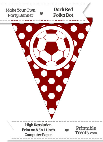 Dark Red Polka Dot Pennant Flag with Soccer Ball from PrintableTreats.com