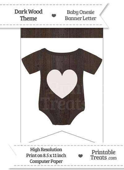 Dark Wood Baby Onesie Bunting Banner Heart End Flag from PrintableTreats.com
