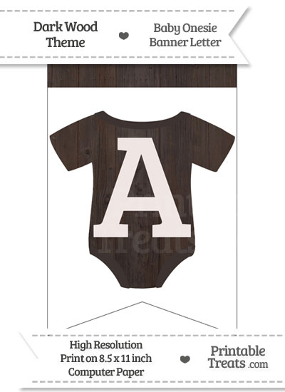 Dark Wood Baby Onesie Bunting Banner Letter A from PrintableTreats.com