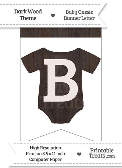 Dark Wood Baby Onesie Bunting Banner Letter B from PrintableTreats.com