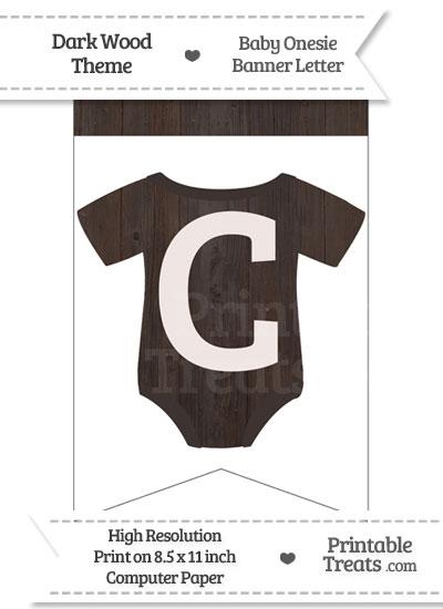 Dark Wood Baby Onesie Bunting Banner Letter C from PrintableTreats.com