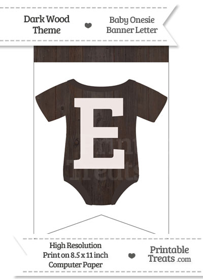 Dark Wood Baby Onesie Bunting Banner Letter E from PrintableTreats.com