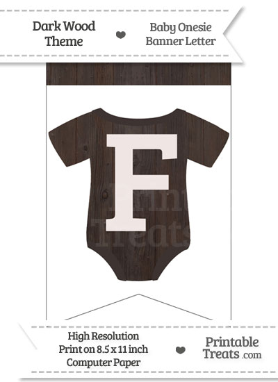 Dark Wood Baby Onesie Bunting Banner Letter F from PrintableTreats.com