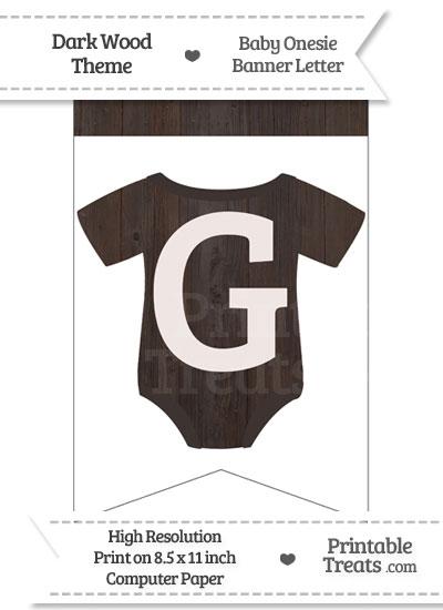 Dark Wood Baby Onesie Bunting Banner Letter G from PrintableTreats.com
