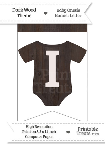 Dark Wood Baby Onesie Bunting Banner Letter I from PrintableTreats.com