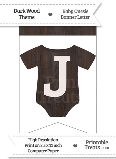 Dark Wood Baby Onesie Bunting Banner Letter J from PrintableTreats.com
