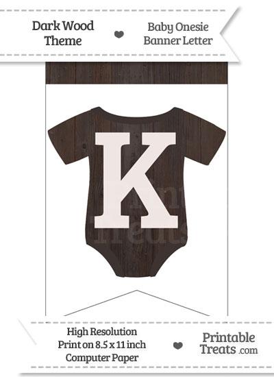 Dark Wood Baby Onesie Bunting Banner Letter K from PrintableTreats.com