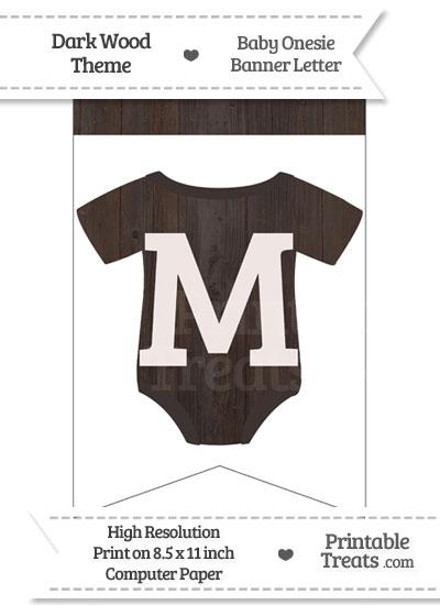 Dark Wood Baby Onesie Bunting Banner Letter M from PrintableTreats.com
