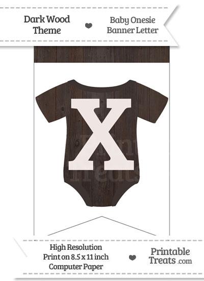 Dark Wood Baby Onesie Bunting Banner Letter X from PrintableTreats.com