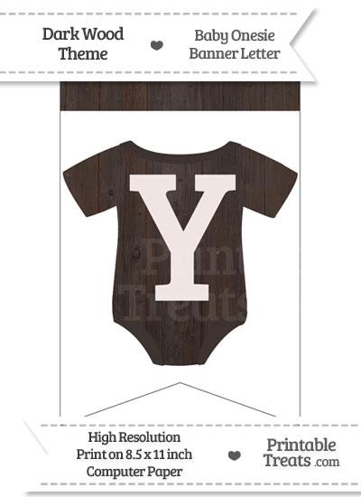 Dark Wood Baby Onesie Bunting Banner Letter Y from PrintableTreats.com