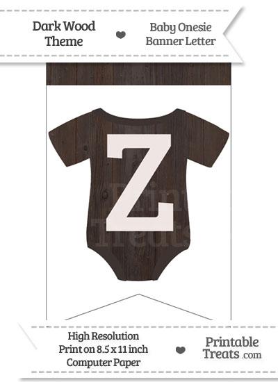 Dark Wood Baby Onesie Bunting Banner Letter Z from PrintableTreats.com