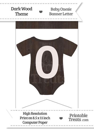 Dark Wood Baby Onesie Bunting Banner Number 0 from PrintableTreats.com