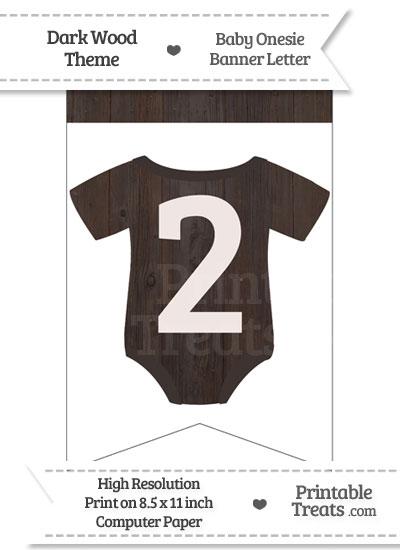 Dark Wood Baby Onesie Bunting Banner Number 2 from PrintableTreats.com