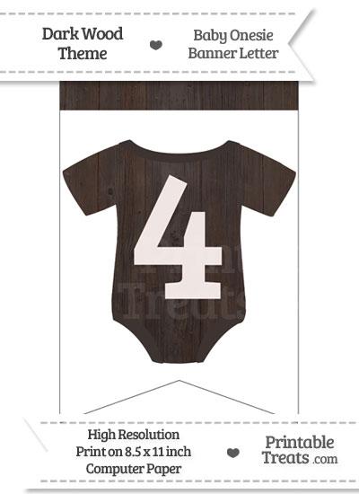 Dark Wood Baby Onesie Bunting Banner Number 4 from PrintableTreats.com