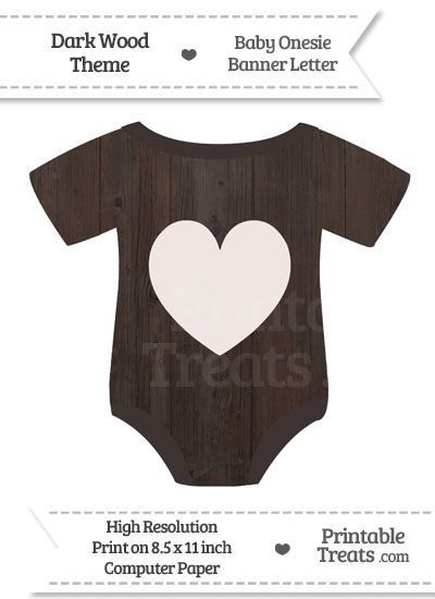 Dark Wood Baby Onesie Shaped Banner Heart End Flag from PrintableTreats.com