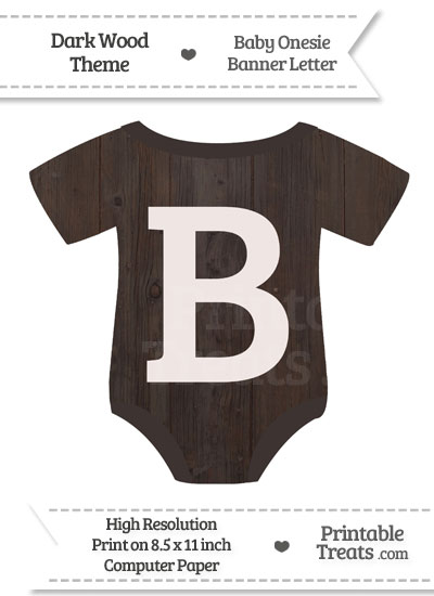 Dark Wood Baby Onesie Shaped Banner Letter B from PrintableTreats.com