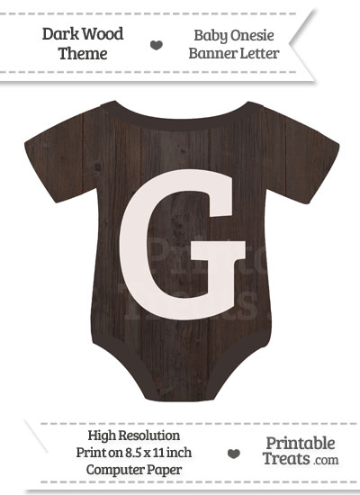 Dark Wood Baby Onesie Shaped Banner Letter G from PrintableTreats.com