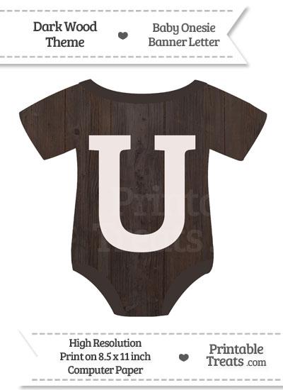 Dark Wood Baby Onesie Shaped Banner Letter U from PrintableTreats.com