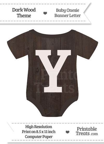 Dark Wood Baby Onesie Shaped Banner Letter Y from PrintableTreats.com
