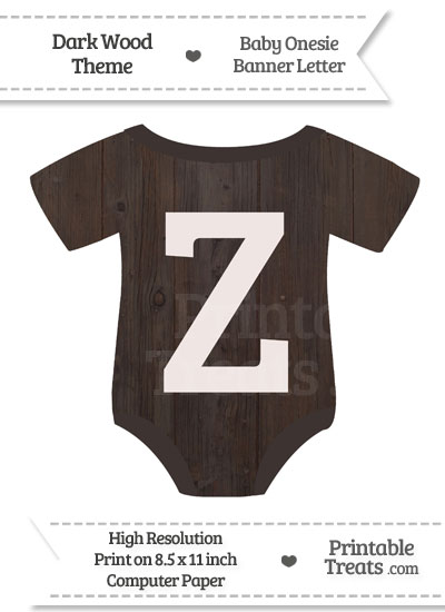 Dark Wood Baby Onesie Shaped Banner Letter Z from PrintableTreats.com