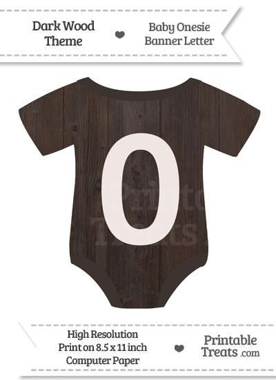 Dark Wood Baby Onesie Shaped Banner Number 0 from PrintableTreats.com