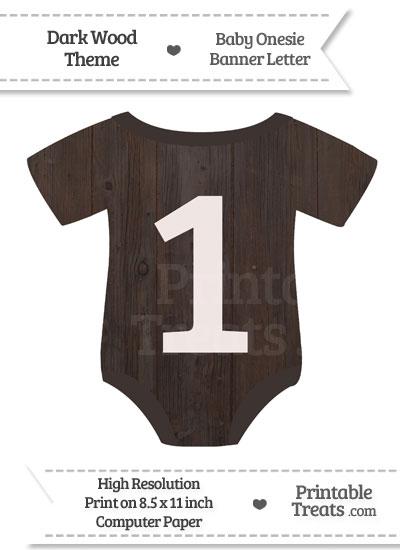 Dark Wood Baby Onesie Shaped Banner Number 1 from PrintableTreats.com
