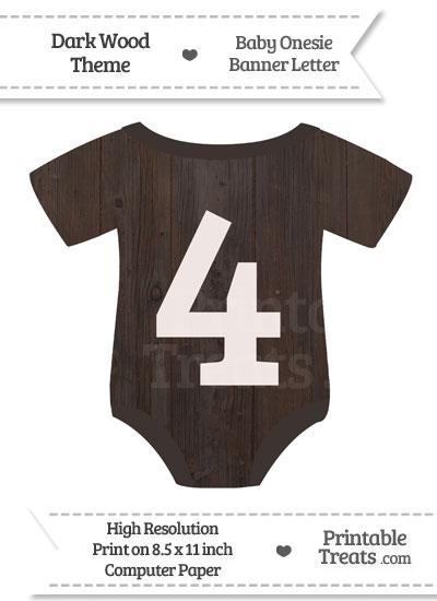 Dark Wood Baby Onesie Shaped Banner Number 4 from PrintableTreats.com
