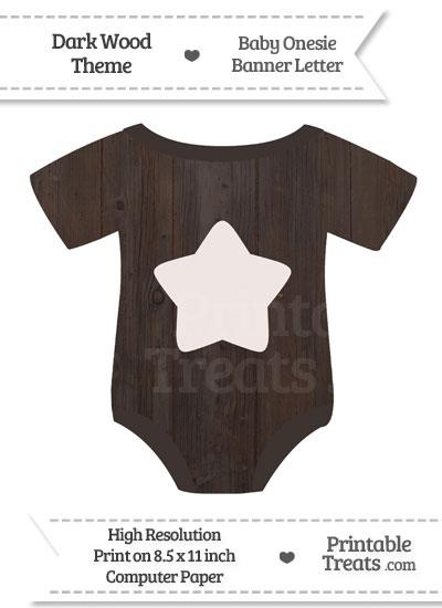 Dark Wood Baby Onesie Shaped Banner Star End Flag from PrintableTreats.com