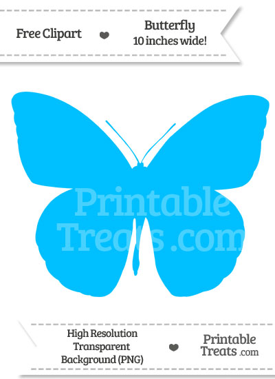 Deep Sky Blue Butterfly Clipart from PrintableTreats.com