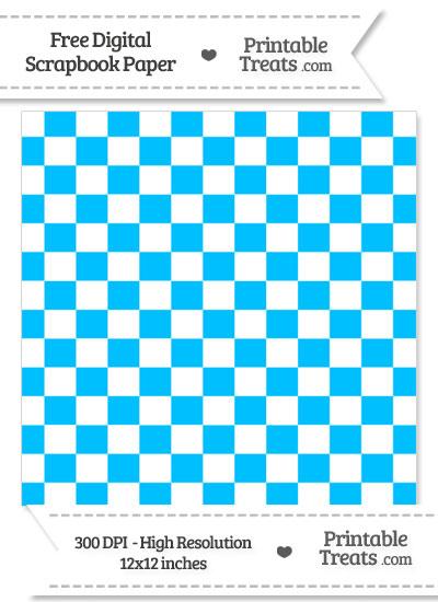 Deep Sky Blue Checkered Pattern Digital Paper from PrintableTreats.com