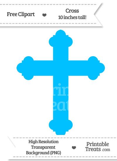 Deep Sky Blue Cross Clipart from PrintableTreats.com